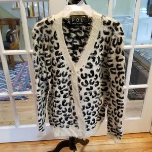 Sweaters - POL Black and white animal print mohair sweater